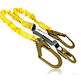 KwikSafety (Charlotte, NC) PYTHON | Double Leg 6ft Tubular Stretch Safety Lanyard | OSHA ANSI Fall Protection | EXTERNAL Shock Absorber | Construction Arborist Roofing | Snap & Rebar Hook Connector