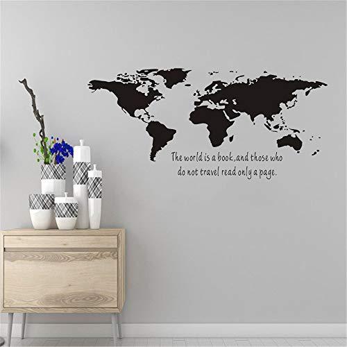 Pegatina de vinilo mundo es un libro mapa pared arte calcomanía dormitorio decoración moderna del hogar pegatina de pared mural A1 42x90cm