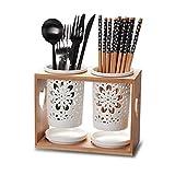 Cutlery Drainer Ceramic Hollow Cutlery Drainer and Organizer Creative Kitchen Utensils Chopsticks Holder Cutlery Storage Holder Spoon Chopsticks Basket Utensil Drying Rack