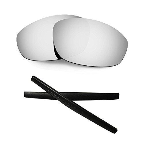 HKUCO For Oakley Whisker Silver Polarized Replacement Lenses and Black Earsocks Rubber Kit