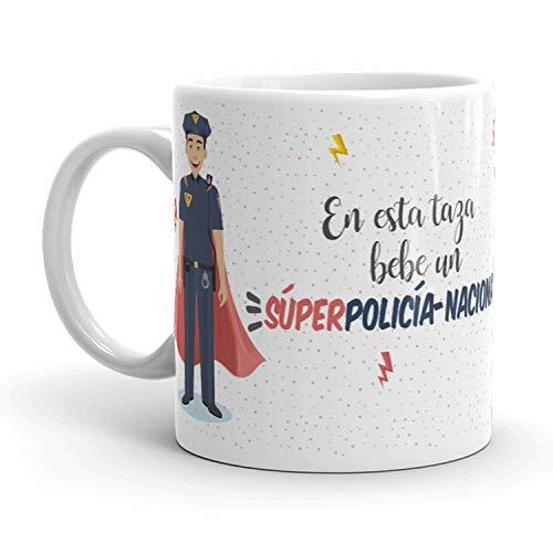Kembilove Tazas de Café de Policía Nacional Superhéroe – En Esta Taza Bebe un Súper Policía Nacional – Tazas de Desayuno para la Oficina – Taza de Café y Té para Trabajadores