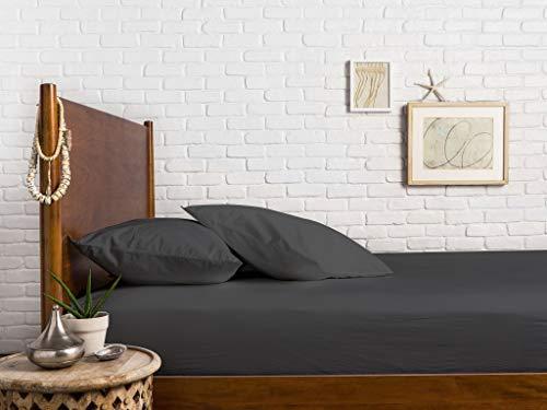 Mayfair Linen 1 Spannbetttuch, Fadenzahl 600, 100 prozent ägyptische Baumwolle, Stone Grey California King lang, gekämmte reine natürliche weiches & seidiges Satingewebe