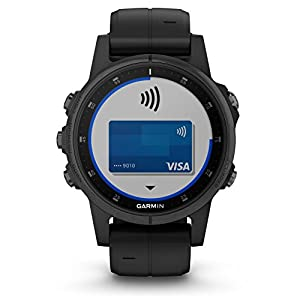 Garmin Fenix 5S Plus Premium Multisport GPS Watch with Maps, Music and Contactless Payments and Wearable4U Ultimate Power Pack Bundle (Sapphire/Black with Black Band)