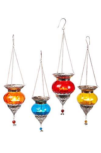 Juego de 4 piezas Farol de vidrio oriental colgante de cristal Bara colorido de 15 cm | Portavelas de cristal oriental con asa de estilo oriental | Faroles marroquíes colgantes