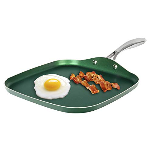Granitestone Green Nonstick Griddle Pan Flat Grill with Ultra Durable Mineral and Diamond Triple Coated Surface, Stainless Steel Stay Cool Handle, Oven & Dishwasher Safe, 100% PFOA Free, 10.5