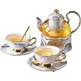 Tetera con calentador de cerámica y 2 piezas de Copas y platillos de cerámica y de la cuchara de la tarde del juego de té de China de hueso tazas de té del hogar de cristal flor de la tetera Qingchunw