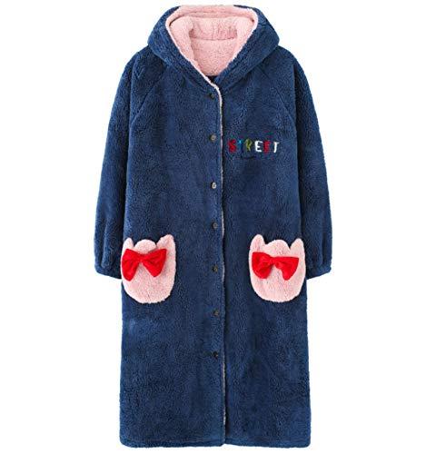 LEYUANA Conjunto de Pijama de Franela de Invierno para Mujer, Grueso, cálido, Bonito, Mangas largas, Suelto, XL color4