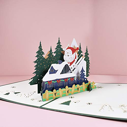 JKGHK Christmas Cards 3D Skiing Santa Xmas Gifts with Envelope and Card for Christmas Winter Holiday 2Pcs