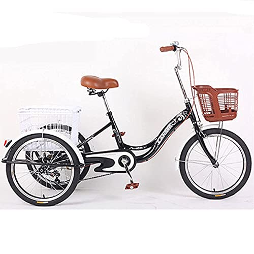 FHISD Pedal Adult 3 Wheel Tricycle with Basket 20 Inch Outdoor Sports City Bicycle Older People Pedaled Tricycles Adults Great for Gift