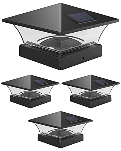 Davinci Lighting Classic Solar Outdoor Post Cap Lights - 4x4 5x5 6x6 - Bright LED Light for Fence Deck Garden or Patio Posts - Slate Black (4 Pack)