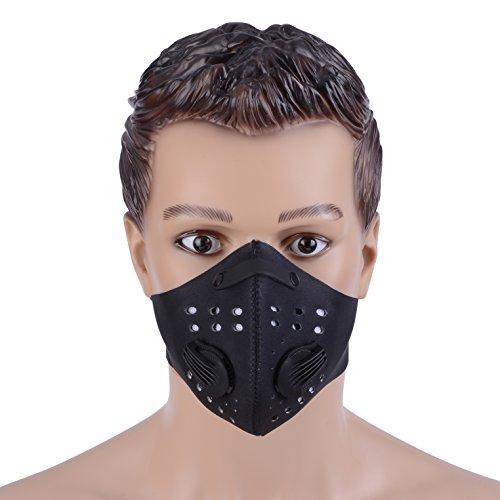 ZUKAM Anti Staub Masken Anti Verschmutzung Maske Carbon Filtration Auspuff Gas Anti Pollen Allergie pm2,5 Gesichtsmaske mit Verstellbarer Gurt für Radfahren Laufen Wandern Motorrad, schwarz (Schwarz)