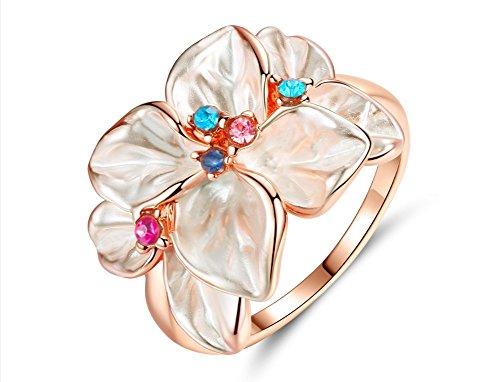 BIGBOBA 1pieza niña color rosa pétalo Rose Gold Ring romántica Cr