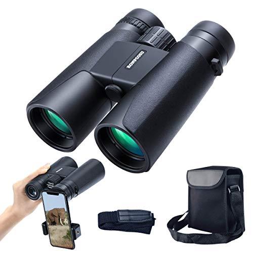 Prismáticos 12x42 con prisma de techo para adultos, compactos, portátiles, impermeables, con visión nocturna, prisma BAK4, lentes FMC, visión nítida de alta definición para las aves