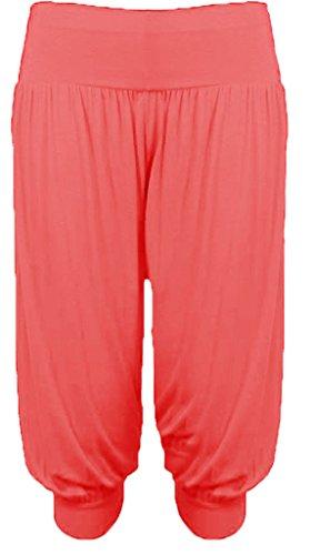 Pluderhose / Baggy Pants für Damen, kurz, elastisch, große Größen, einfarbig Gr. 40, korallenrot