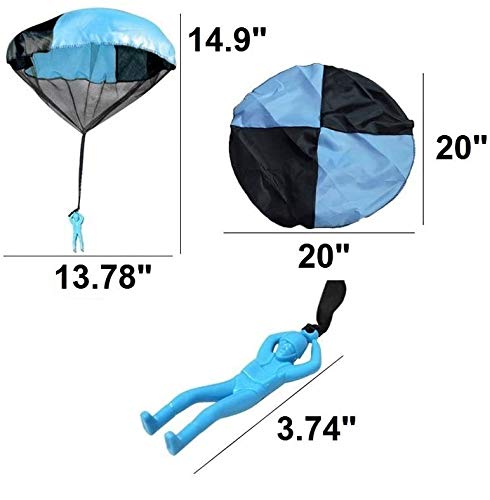 "Toys+ 4 Pack Tangle Free Throwing Parachute Man with Large 20"" Parachutes! Blue, Orange, Pink and Yellow"
