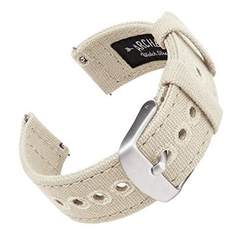 Archer Watch Straps | Correas Reloj Lona de Liberación Rápida para Hombre y Mujer | para Relojes y Smartwatch (Alabastro, 18mm)