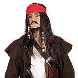 HAAC Perücke Pirat Herren Langhaar mit Bandana Schnurrbart Fasching Karneval