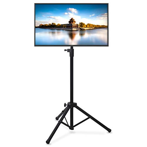 Pyle Premium LCD Flat Panel TV Tripod, Portable TV Stand, Foldable Stand Mount, Fits LCD LED Flat Screen TV Up To 32', Adjustable Height, 22 lbs Weight Capacity, Vesa 75x75, 100x100 (PTVSTNDPT3215)