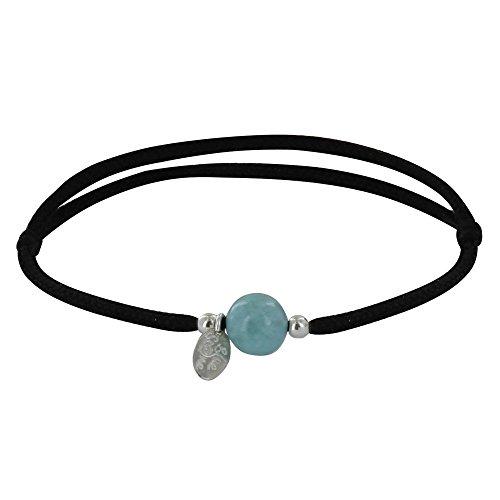 Schmuck Les Poulettes - Armband Schwarz Link EIN Larimar Perle und Zwei Silber Perlen