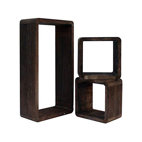 Rebecca Mobili Set 3 Pz Estantería de Pared 2 Cuadrados 1 Cubo Madera Paulownia Marrón Oscuro Estilo Moderno Decoración Hogar (Cod. RE6302)