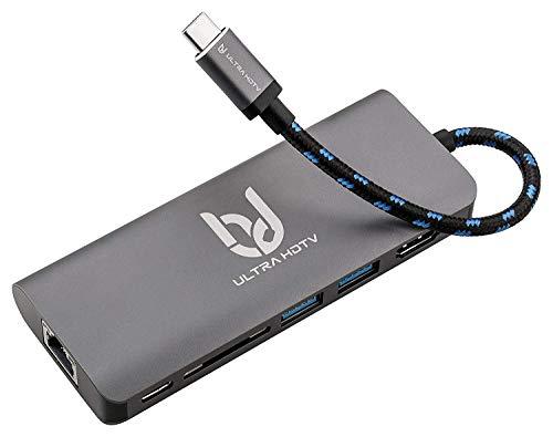 Ultra HDTV USB-C Multifunktions-Hub, Edler Typ-C Datenhub mit 60W PD-Charge, Verfügbare Slots 1x HDMI Buchse, 2X USB 3.0, 1x SD-Card, 1x USB-C und 1x LAN