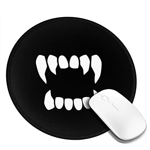Personalized Mouse Pad Round Mouse Pad Best Mouse Pad Ergonomic Mouse Pad-Tooth Vampire Teeth Neutral Fang Dracula Scary Halloween Mouth Sharp