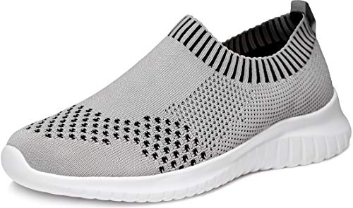 TSLA Women's Slip-on Easy Casual Walking Running Work Sneaker Knit Mesh Shoes, Lightweight(ry100) - Light Grey, 11