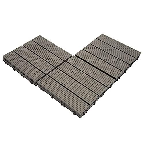 famobay Wood Plastic Composite Patio Deck Tiles (12
