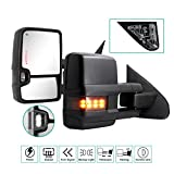 Towing Mirrors for 2014 2015 2016 2017 2018 Chevy Silverado GMC Sierra 1500 2500 HD 3500 HD with Power Glass LED Arrow Turn Signal Light Backup Lamp Running Light Heated Extendable Pair Set