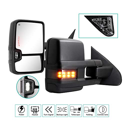 Sanooer Towing Mirrors for 2014 2015 2016 2017 2018 Chevy Silverado GMC Sierra 1500 2500 HD 3500 HD with Power Glass LED Arrow Turn Signal Light Backup Lamp Running Light Heated Extendable Pair Set