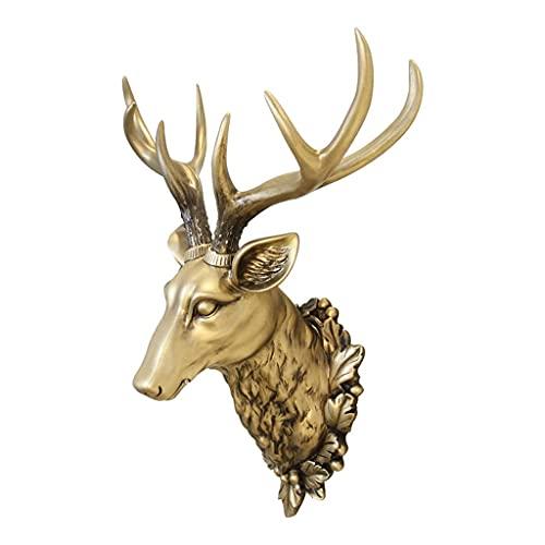 DZX Creativo Ciervo Colgante de Pared, Cabeza de Ciervo Colgante de Pared decoración de Pared, Cabeza de Animal de la Suerte, Colgante de Cabeza de Ciervo de simulación, Pared de Fondo de TV de Sal
