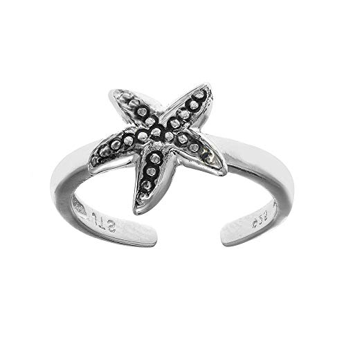 925 Sterling Silver Nautical Starfish Adjustable Toe Ring