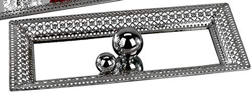 dekojohnson modern spiegeldienblad decoratief dienblad XXL zilveren dienblad kaarsendienblad decoratiedienblad met kristallen stenen 24 x 60 cm groot rechthoekig