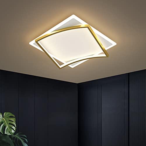 Lámpara LED de techo para estudios, habitaciones, salón, diseño regulable, moderna, rectangular, decorativa, elegante, de metal, pantalla acrílica con mando a distancia para dormitorio, comedor,