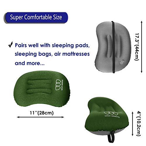 Gold Armour Inflatable Camping Pillow Backpacking Pillow Lightweight Travel Air Pillow Ultralight Ergonomic Pillow Portable for Airplanes with Neck & Lumbar Support (2 Pack) (OD Green & OD Green)