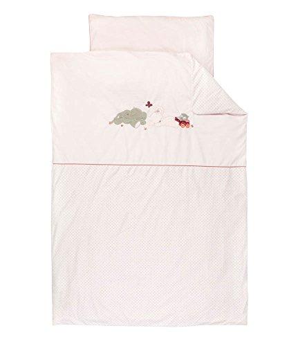 Nattou Parure de Lit avec Motif Réversible, Housse de Couette 100 x 140 cm et Taie d'Oreiller 40 x 60 cm, Adèle et Valentine, Rose