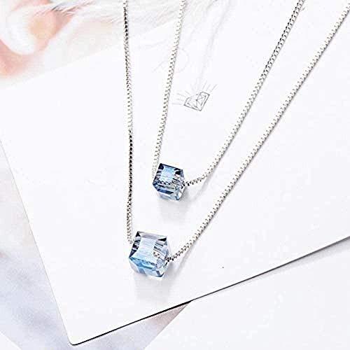 BACKZY MXJP Halskette Elegante Kragen Damen Einfache Quadratische Aurora Kristall Glänzende Bunte Doppelwürfel Sterling Silber Schlüsselbein Weibliche Halskette