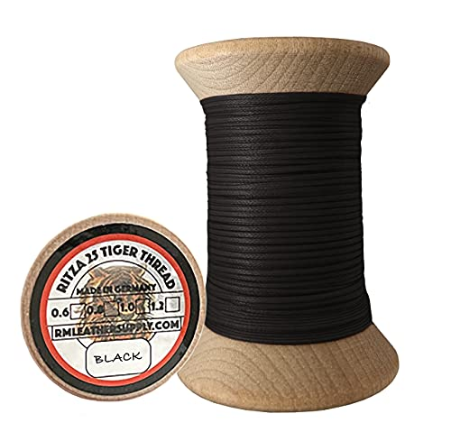 0.8mm Ritza Tiger Thread - Waxed Polyester Braided Thread for Hand Sewing Leather (Mini Spool 25 Meters)