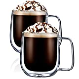 GooDoi Tasse Double Paroi Verre, Tasse en Verre à cappuccino Mug Verre Café Borosilicate avec Poignée, 300ml, Lot de 2