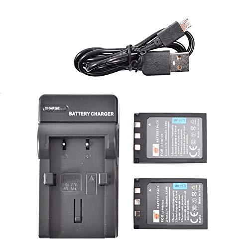DSTE - Batería de ion de litio LI-10B (2 unidades) y cargador micro USB compatible con Olympus LI-12B C-470 C-760 C-765 C-770 C-7000 D-590 X-500 FE-200 IR-500 Stylus 60 80 81 0 100 0 Camera