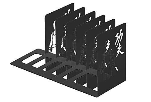 6 unidades de Sujetalibros de Metal 15 x 15 x 20 cm, Grande, con KUNG FU diseño (Negro)