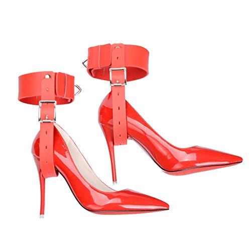 HZS (Lederschuhe Nicht enthalten Jeans Sēxy High Heel Straps Fixed Adūlt Toy Straps (einschließlich 4 kleine Silberne Schlösser) T-Shirt (Color : Red)