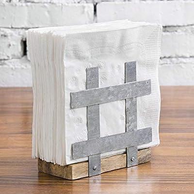 MyGift Galvanized Metal and Solid Mango Wood Tabletop Napkin Holder Rack