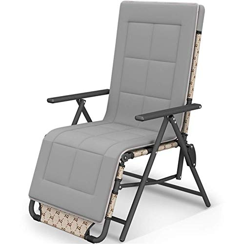 NMDCDH Rocker Recliner Sun Lounger 10 Positions Adjustable Brown Chair Outdoor Garden Furniture Folding Bed For Beach Pool Patio Camping Feet Steel Round Tube c2010 (Size : With cushion)
