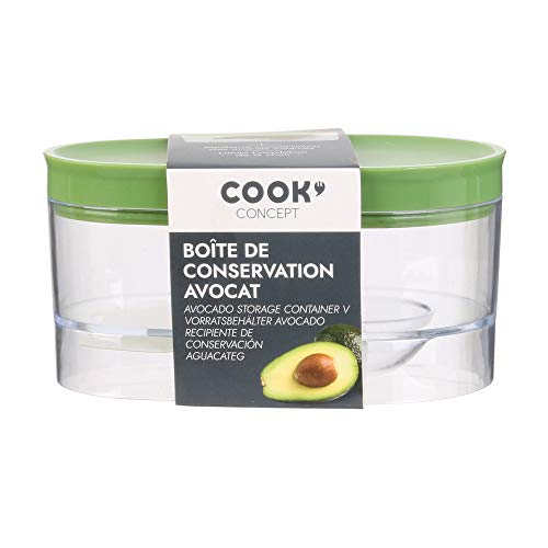 Easy Make CMKU6460 RECIPIENTE CONSERVA AGUACATE, Kunststoff, Grün/Transparent, 14 x 9 x 7 cm