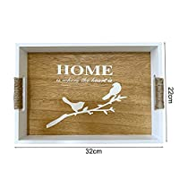 トレイの木製のサービングトレイのコーヒーテーブルトレイを提供素朴な家の装飾のためのトレイの木製トレイ (Color : Chocolate)