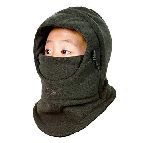 TRIWONDER Kinder Balaclava Winter Mütze mit Winterschal, Warmen Kapuzenschal Gesichtsmaske für Jungen Mädchen Outdoor Sport (Grün)