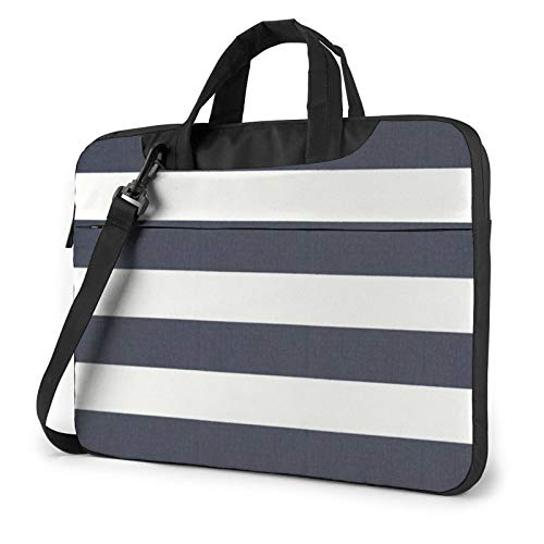 XIAONI Navy Blue Stripes Laptop Shoulder Bag Compatible with 13-15.6 Inch MacBook Pro,MacBook Air,Notebook Computer,Removable Shoulder Strap Waterproof Carrying Briefcase Sleeve for Men Women