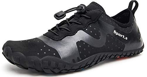 Herren Outdoor Fitnessschuhe Barfußschuhe Trekking Schuhe Badeschuhe Schnell Trocknend rutschfest(Schwarz,46 EU)