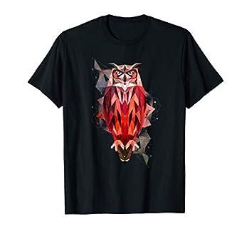 Geometric Pattern Owl - Geometric Owl Tattoo Style T-Shirt